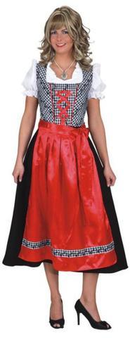 Vestito bavarese lungo rosso e nero
