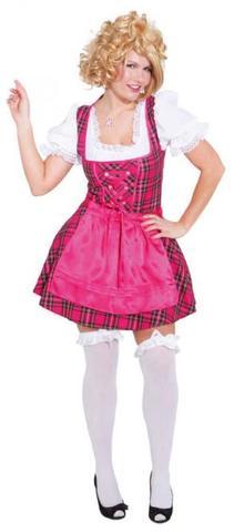 Vestito bavarese a quadretti sexy pink