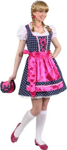 Vestito bavarese a pois pink e blu