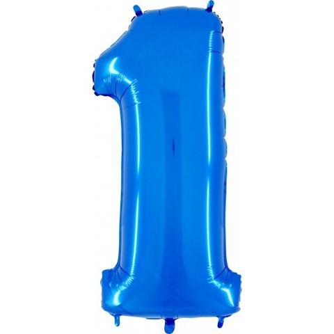 Palloncino a forma di numero 1 blu