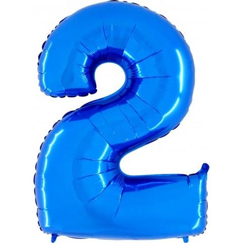 Palloncino a forma di numero 2 blu