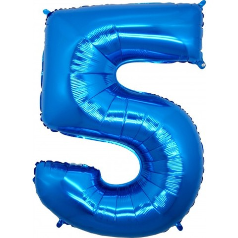 Palloncino a forma di numero 5 blu