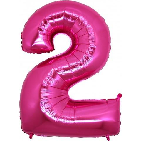 Palloncino a forma di numero 2 rosa pink