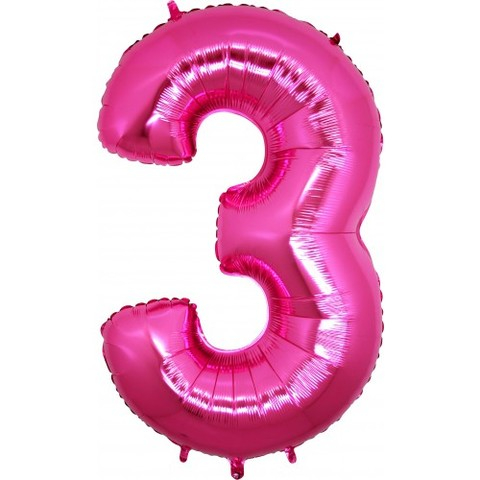 Palloncino a forma di numero 3 rosa pink