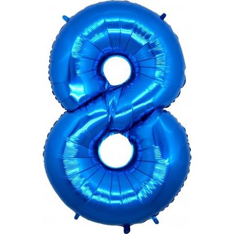 Palloncino a forma di numero 8 blu