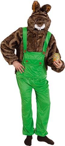 Costume di carnevale da coniglio con salopette in peluche