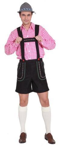 Pantaloni lederhosen uomo corti neri
