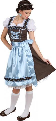 Vestito bavarese a pois marrone e azzurro