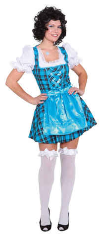 Vestito bavarese a quadretti sexy blu