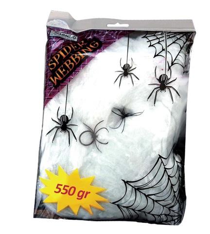 Accessorio halloween ragnatela grande bianca con ragni
