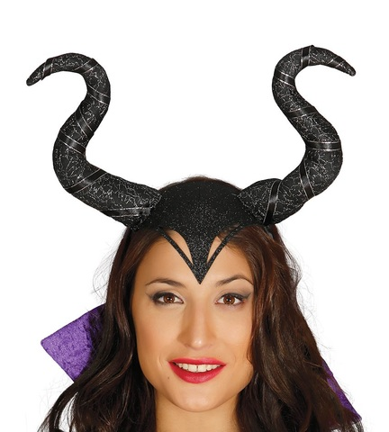 Accessorio halloween diadema con corna da maleficent