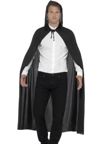 Accessorio halloween mantello lungo nero con cappuccio