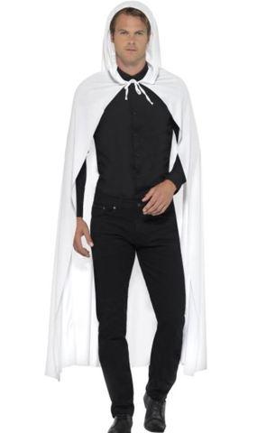 Accessorio Halloween Mantello Lungo Bianco Con Cappuccio