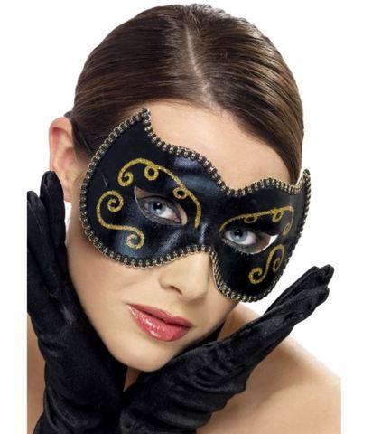 Accessorio Halloween Maschera Oro E Nera