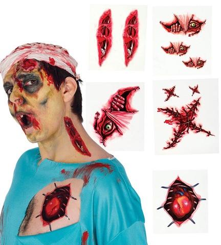 Trucco halloween tatuaggi con ferite