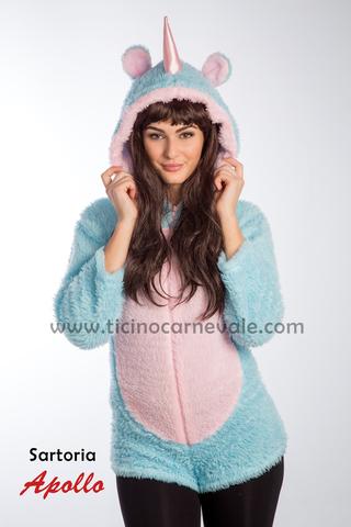 Costume di carnevale da unicorno azzurro in peluce