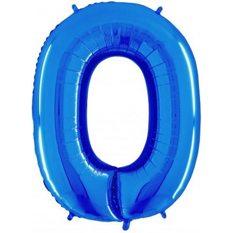 Palloncino a forma di numero 0 blu