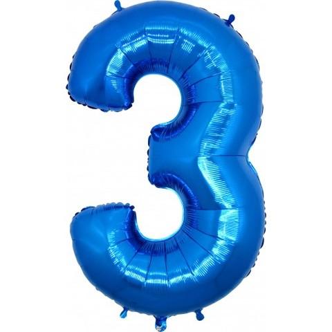 Palloncini a forma di numero 3 blu