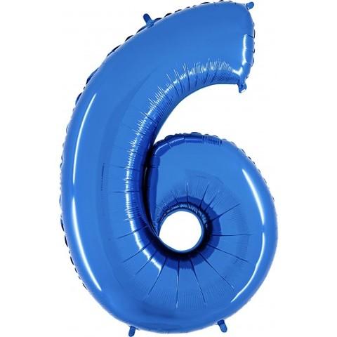 Palloncino a forma di numero 6 blu