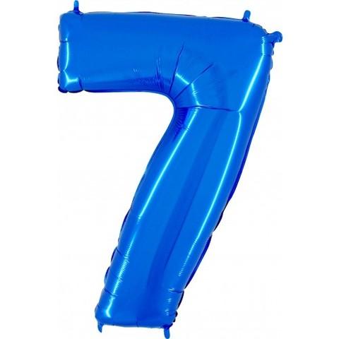 Palloncino a forma di numero 7 blu