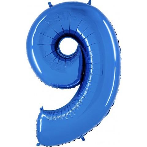 Palloncino a dorma di numero 9 blu