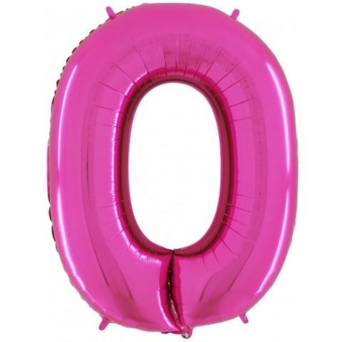 Palloncino a forma di numero 0 rosa pink