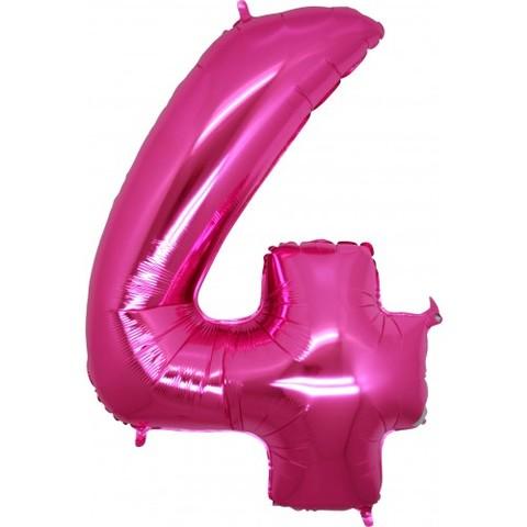 Palloncino a forma di numero 4 rosa pink
