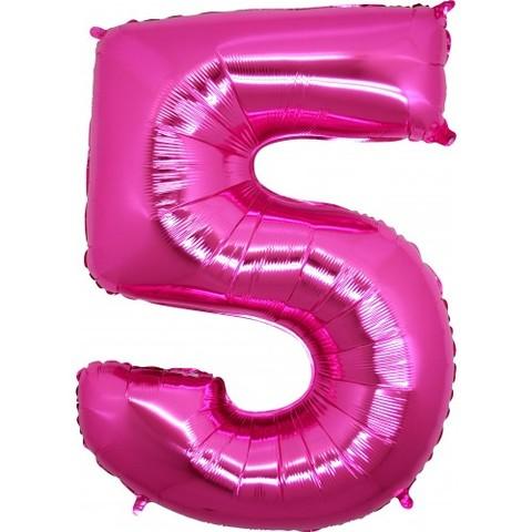 Palloncino a forma di numero 5 rosa pink