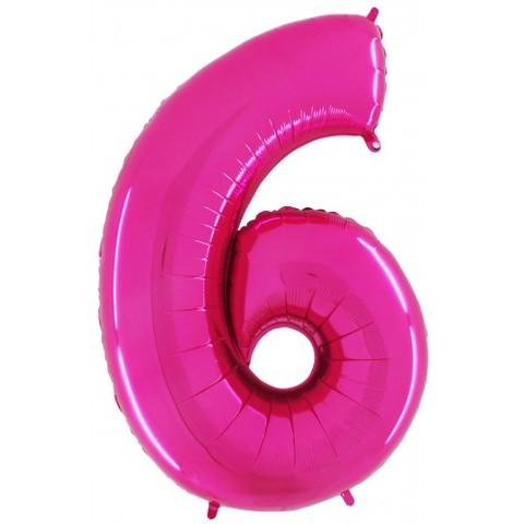 Palloncino a forma di numero 6 rosa pink