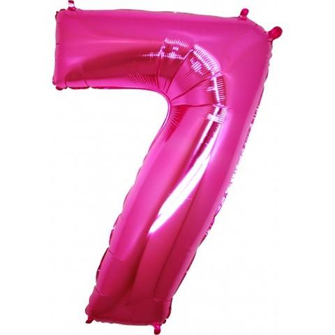 Palloncino a forma di numero 7 rosa pink
