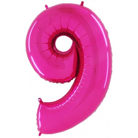 Palloncino a forma di numero 9 rosa pink