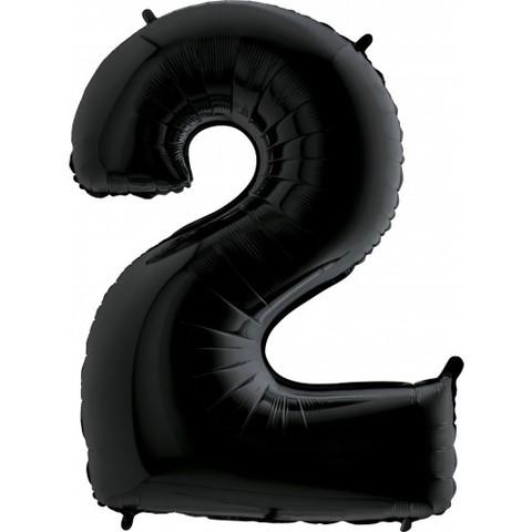 Palloncino a forma di numero 2 nero