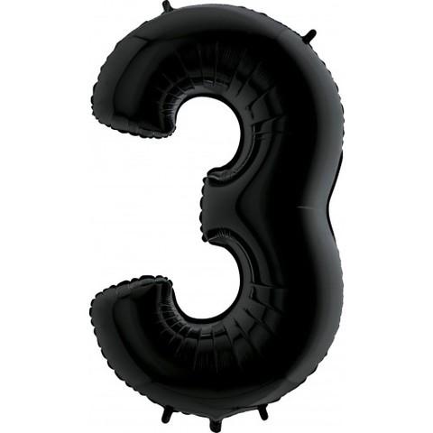 Palloncino a forma di numero 3 nero