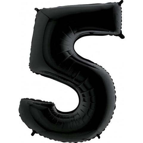Palloncino a forma di numero 5 nero