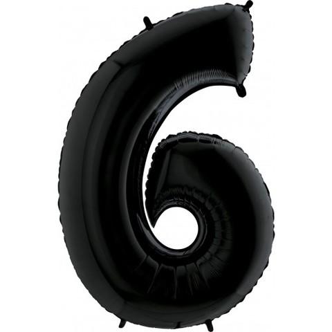 Palloncino a forma di numero 6 nero
