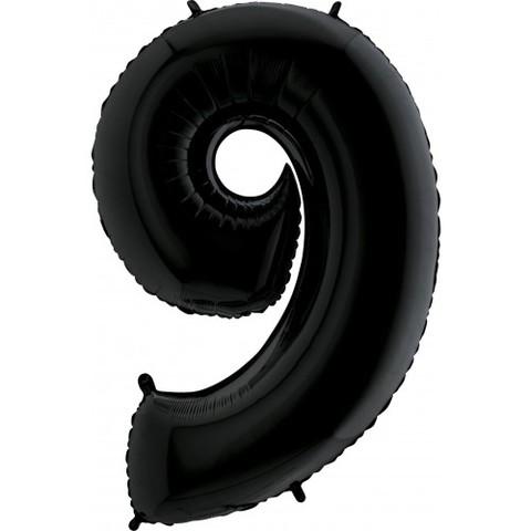 Palloncino a forma di numero 9 nero