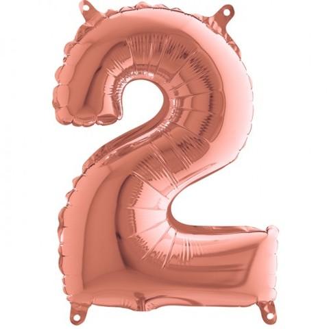 Palloncino a forma di numero 2 rosa gold