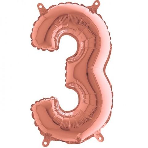 Palloncino a forma di numero 3 rosa gold