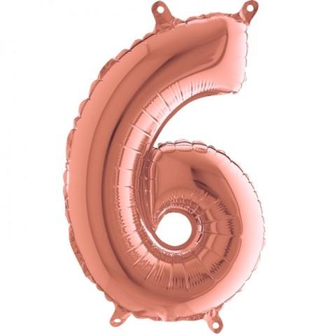 Palloncino a forma di numero 6 rosa gold