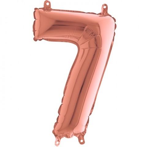 Palloncino a forma di numeto 7 rosa gold