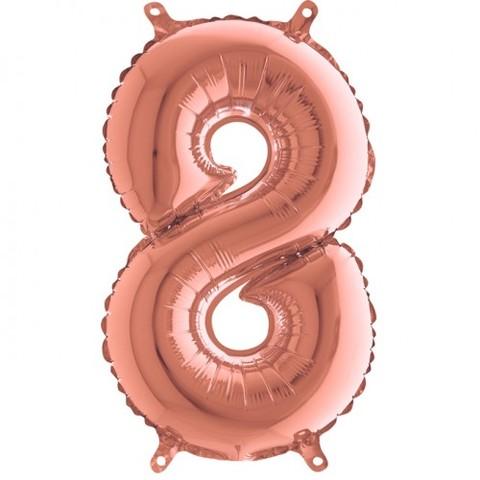 Palloncino a forma di numero 8 rosa gold