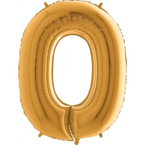 Palloncino a forma di numero 0 color oro