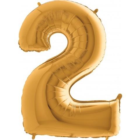 Palloncino a forma di numero 2 color oro