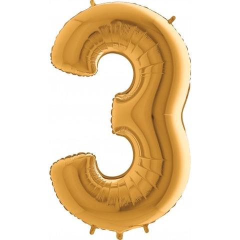 Palloncino a forma di numero 3 color oro