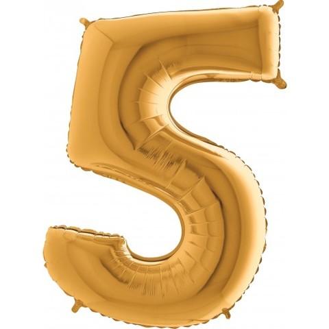 Palloncino a forma di numero 5 color oro