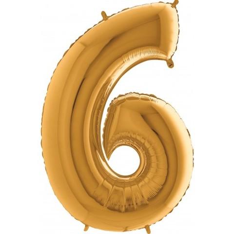 Palloncino a forma di numero 6 color oro