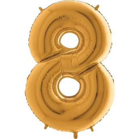 Palloncino a forma di numero 8 color oro