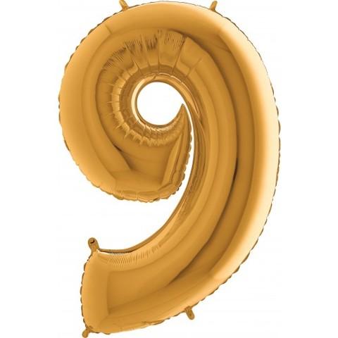 Palloncino a forma di numero 9 color oro