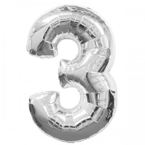 Palloncino a forma di numero 3 argento