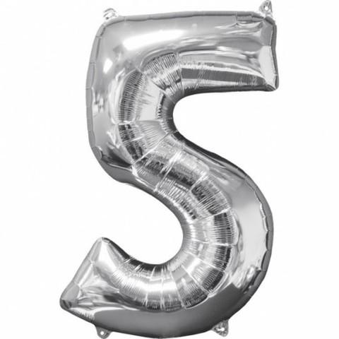 Palloncino a forma di numero 5 argento